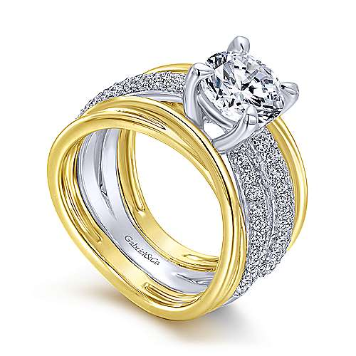 Bright 18k Yellow And White Gold Round Straight Engagement Ring angle 3
