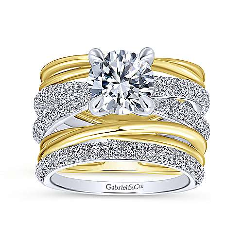 Bright 18k Yellow And White Gold Round Straight Engagement Ring angle 4
