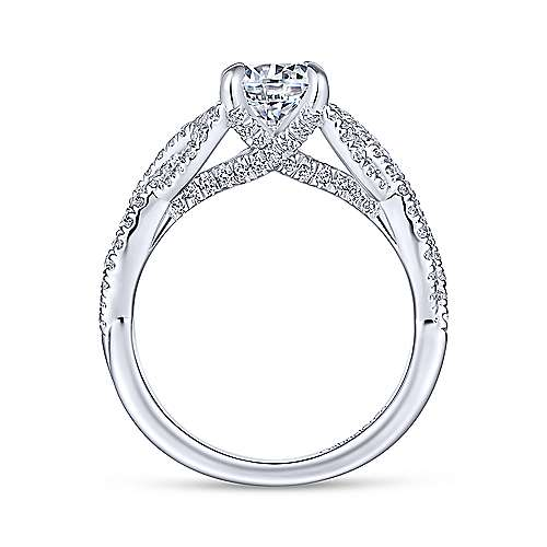 Brighton 14k White Gold Round Twisted Engagement Ring