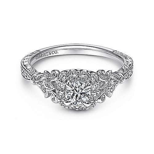 Briny 14k White Gold Round Halo Engagement Ring angle 1