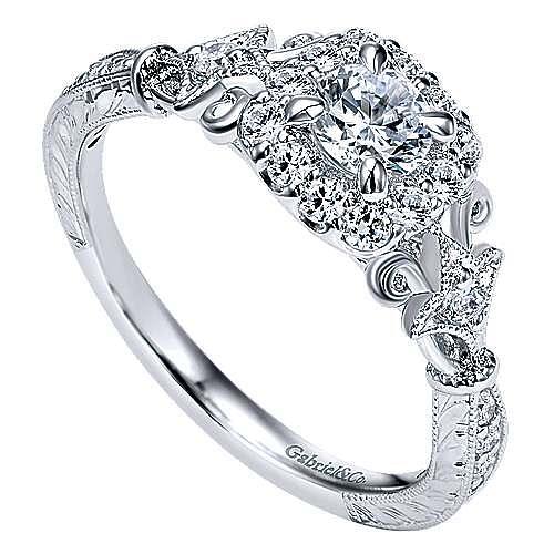 Briny 14k White Gold Round Halo Engagement Ring angle 3