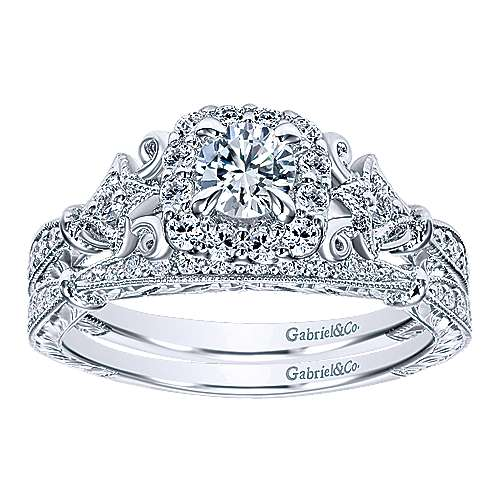 Briny 14k White Gold Round Halo Engagement Ring angle 4