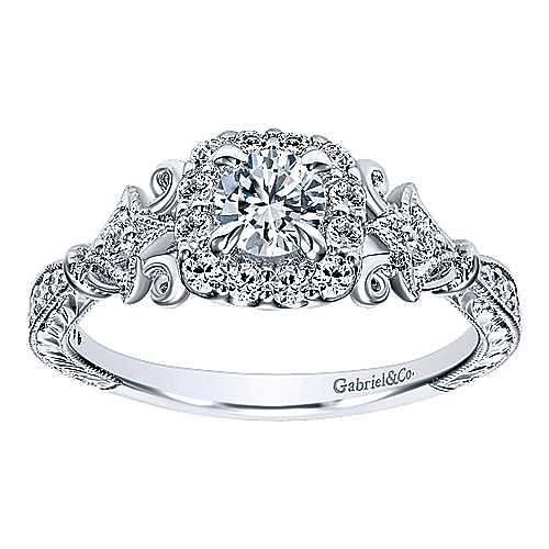 Briny 14k White Gold Round Halo Engagement Ring angle 5