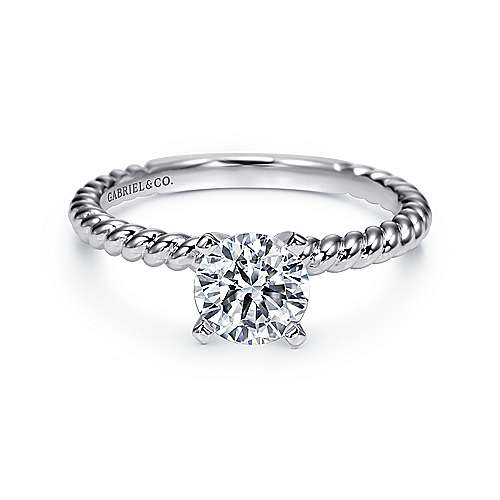 Gabriel - Briony 14k White Gold Round Straight Engagement Ring