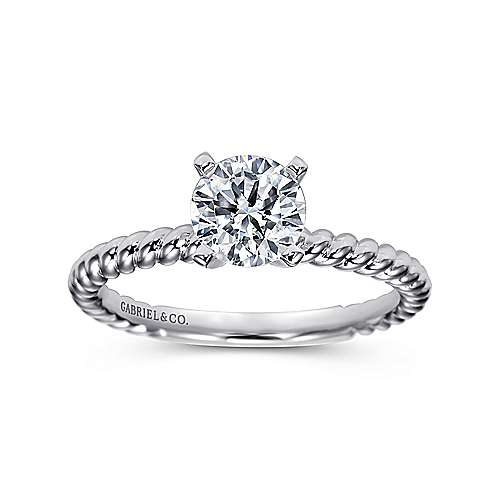 Briony 14k White Gold Round Straight Engagement Ring angle 5