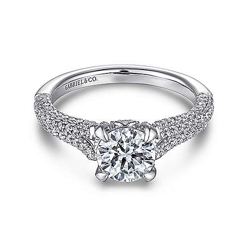 Gabriel - Briselli 14k White Gold Round Split Shank Engagement Ring
