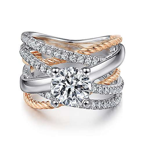 Bristol 14k White And Rose Gold Round Twisted Engagement Ring angle 1