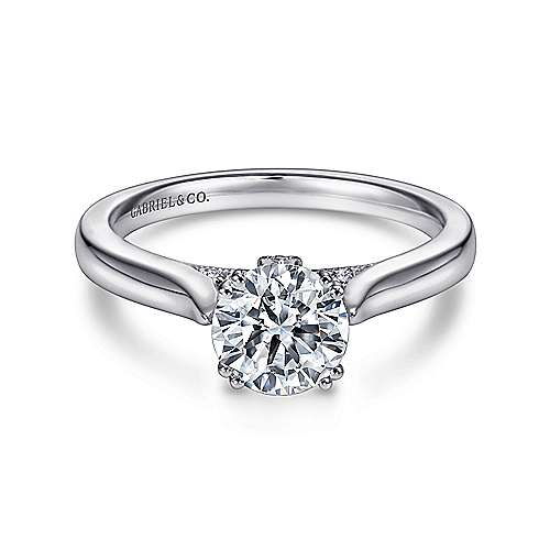 Gabriel - Britta 18k White Gold Round Solitaire Engagement Ring