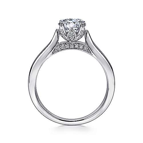 Britta 18k White Gold Round Solitaire Engagement Ring angle 2