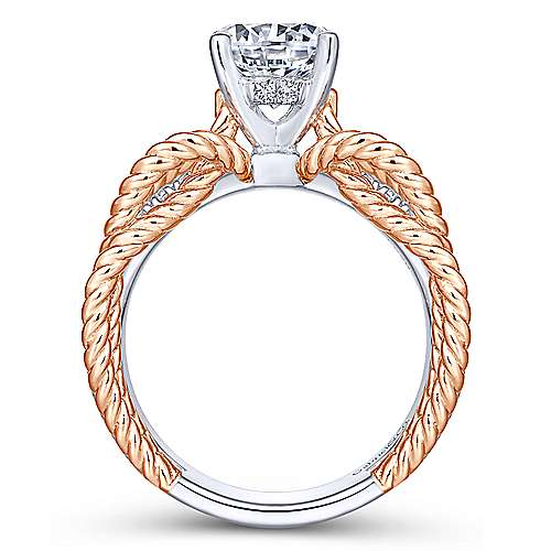 Brooke 14k White And Rose Gold Round Twisted Engagement Ring angle 2
