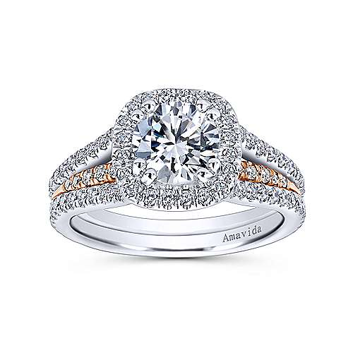 Brooklyn 18k White And Rose Gold Round Halo Engagement Ring angle 5