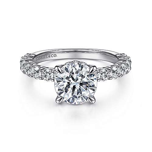 Gabriel - Brosnan 14k White Gold Round Straight Engagement Ring