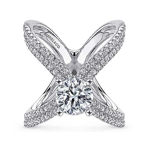 Gabriel - Bruna 18k White Gold Round Split Shank Engagement Ring