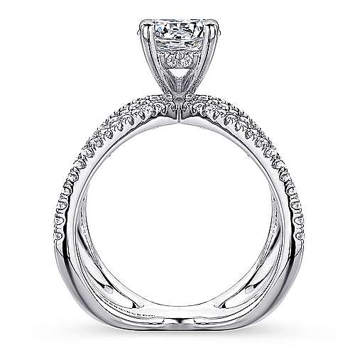 Bruna 18k White Gold Round Split Shank Engagement Ring angle 2