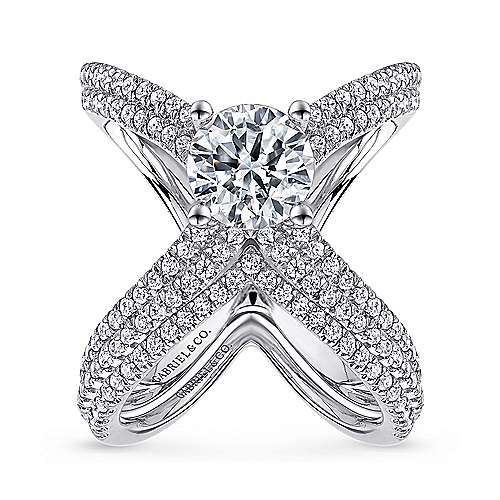 Bruna 18k White Gold Round Split Shank Engagement Ring angle 4