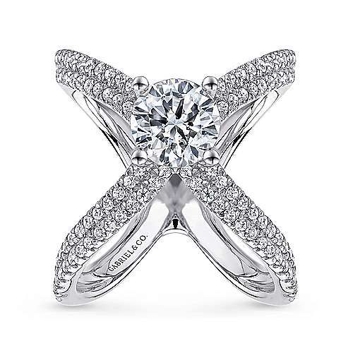 Bruna 18k White Gold Round Split Shank Engagement Ring angle 5