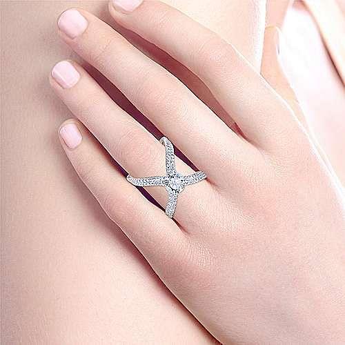 Bruna 18k White Gold Round Split Shank Engagement Ring angle 6