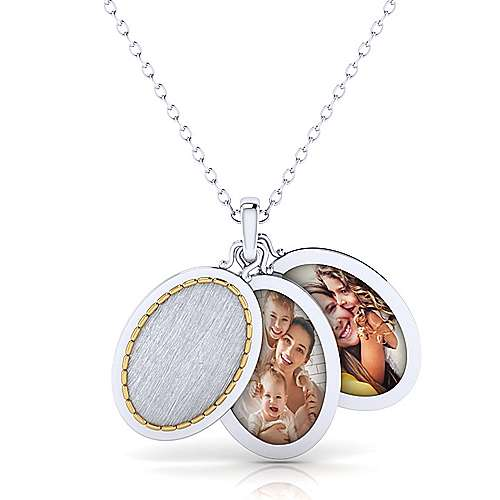 Brushed 925 Sterling Silver-18k Yellow Gold Oval Locket Necklace