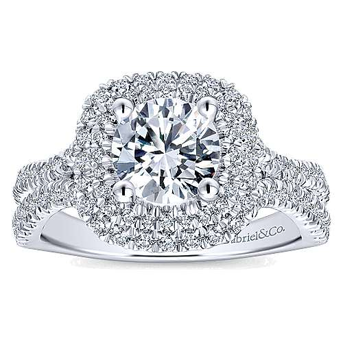 Buttercup 14k White Gold Round Double Halo Engagement Ring angle 5