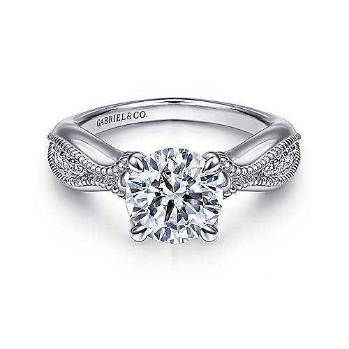 Gabriel - Cabana 18k White Gold Round Straight Engagement Ring