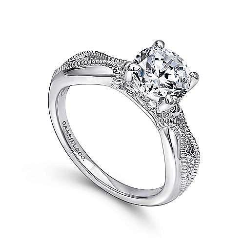 Cabana 18k White Gold Round Straight Engagement Ring angle 3