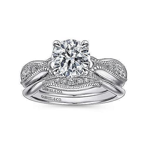 Cabana 18k White Gold Round Straight Engagement Ring angle 4