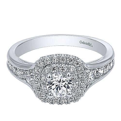 Gabriel - Cabata 14k White Gold Round Double Halo Engagement Ring