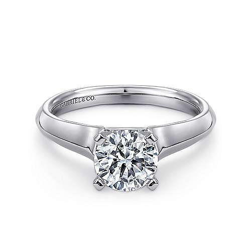 Caden 14k White Gold Round Solitaire Engagement Ring angle 1
