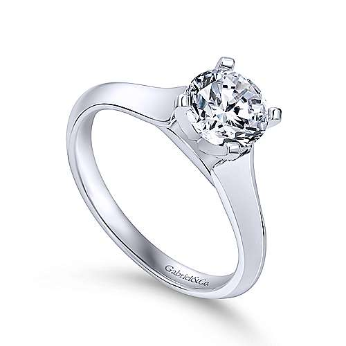 Caden 14k White Gold Round Solitaire Engagement Ring angle 3