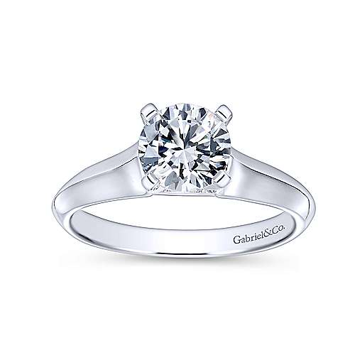 Caden 14k White Gold Round Solitaire Engagement Ring angle 5