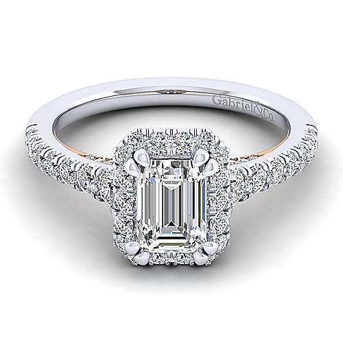 Gabriel - Cadence 14k White And Rose Gold Emerald Cut Halo Engagement Ring