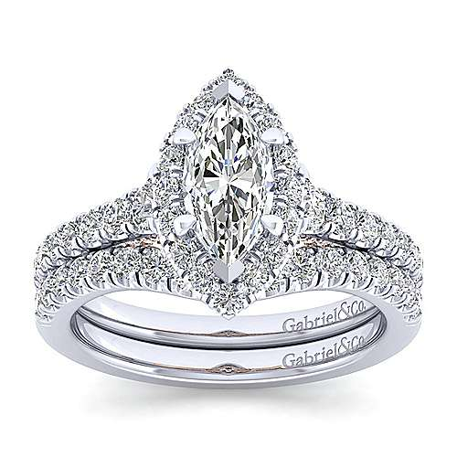 Cadence 14k White And Rose Gold Marquise  Halo Engagement Ring