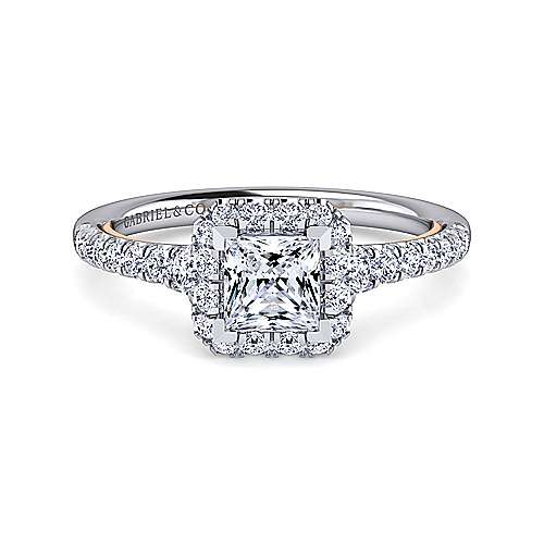 Gabriel - Cadence 14k White And Rose Gold Princess Cut Halo Engagement Ring
