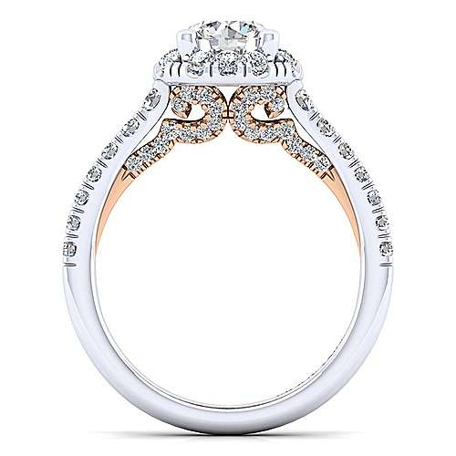 Cadence 14k White And Rose Gold Round Halo Engagement Ring