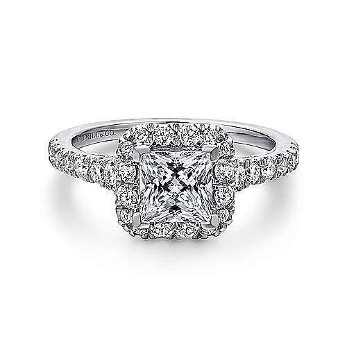 Gabriel - Cadence Platinum Princess Cut Halo Engagement Ring