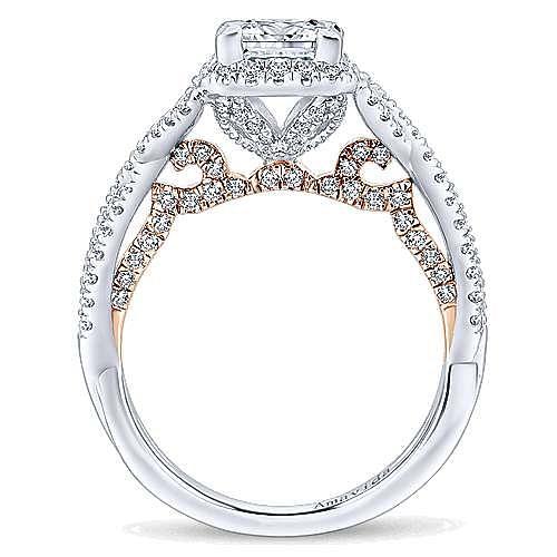 Cadi 18k White And Rose Gold Princess Cut Halo Engagement Ring angle 2