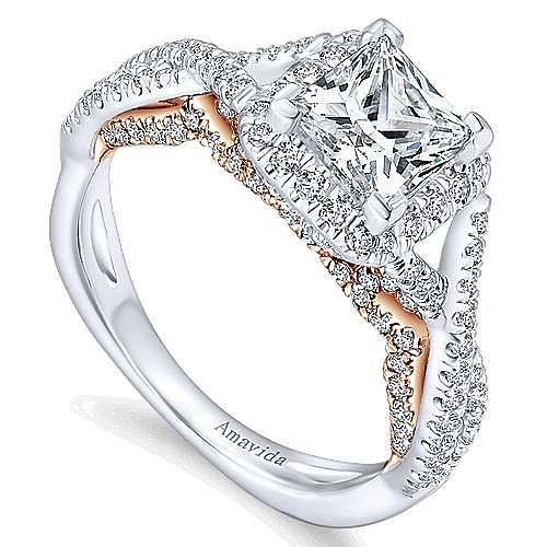 Cadi 18k White And Rose Gold Princess Cut Halo Engagement Ring angle 3