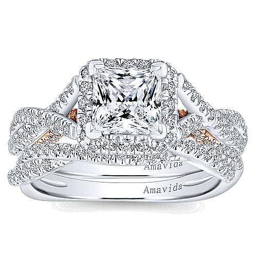Cadi 18k White And Rose Gold Princess Cut Halo Engagement Ring angle 4