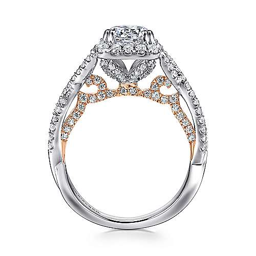 Cadi 18k White And Rose Gold Round Halo Engagement Ring angle 2