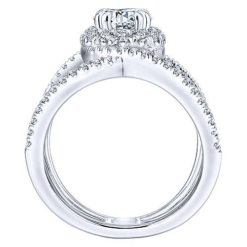 Caldera 14k White Gold Round Halo Engagement Ring angle 2