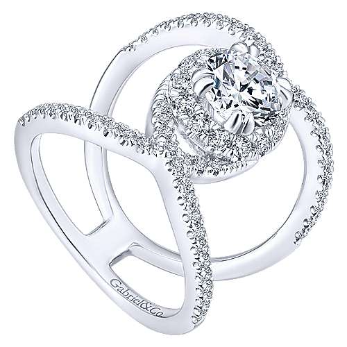 Caldera 14k White Gold Round Halo Engagement Ring angle 3