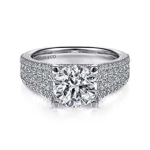 Gabriel - Caldwell 14k White Gold Round Straight Engagement Ring