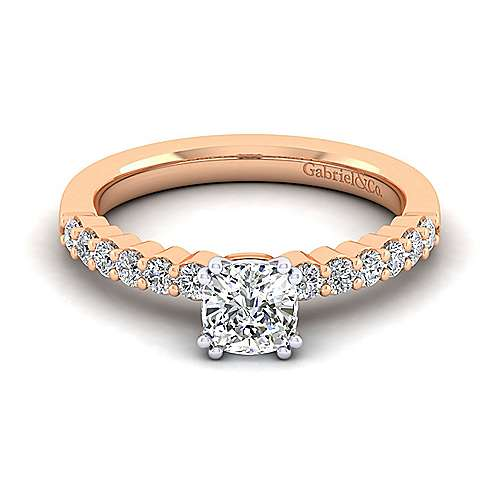 Caleigh 14k White And Rose Gold Cushion Cut Straight Engagement Ring