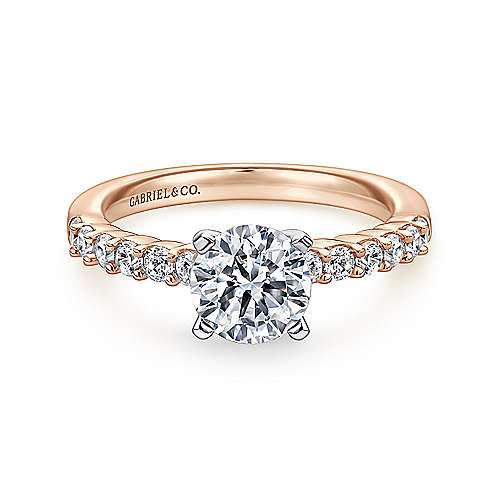 Gabriel - Caleigh 14k White And Rose Gold Round Straight Engagement Ring