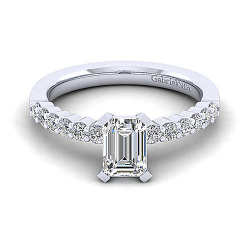 Gabriel - Caleigh 14k White Gold Emerald Cut Straight Engagement Ring