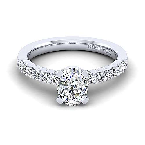 Gabriel - Caleigh 14k White Gold Oval Straight Engagement Ring