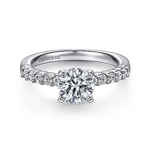 Caleigh 14k White Gold Round Straight Engagement Ring angle 1