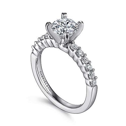 Caleigh 14k White Gold Round Straight Engagement Ring angle 3
