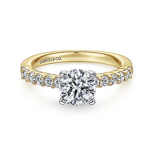 Gabriel - Caleigh 14k Yellow And White Gold Round Straight Engagement Ring