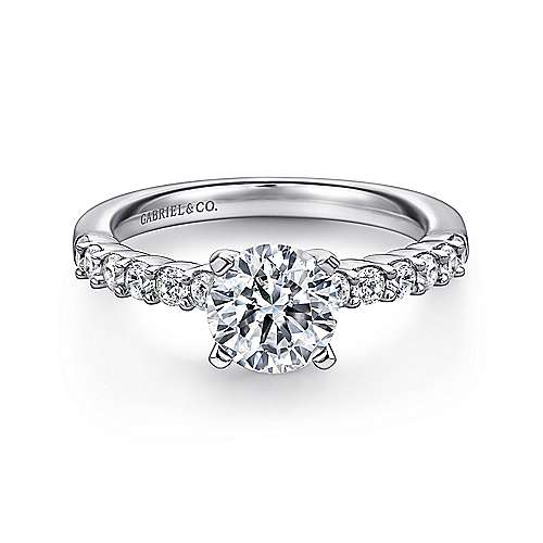 Gabriel - Caleigh Platinum Round Straight Engagement Ring